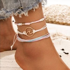 NEW 3 piece wave bead strand ankle bracelet set